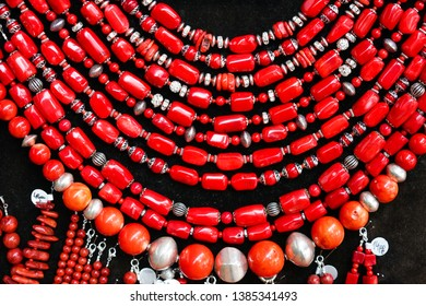 Bamboo Coral. Lady accessories and necklaces made from the bamboo coral stones. Texture and patten of the jewelry stones.