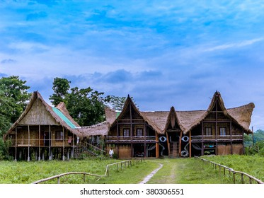 Bamboo cottage at Majuli river Island Assam ,India.it  is a large river island in the Brahmaputra River, Assam, India. The island had a total area of 1250 square kilometres .