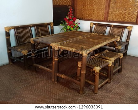 Bamboo Dinning Table Set Country Style Stock Photo (Edit Now ...