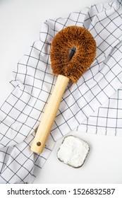 bamboo dishwashing brushes, white background