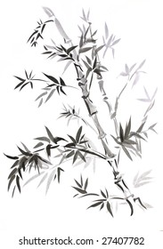 Bamboo, drawn in traditional east style India ink