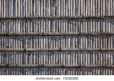 Bamboo fence at an ancient temple in Kyoto Japan. Close up.