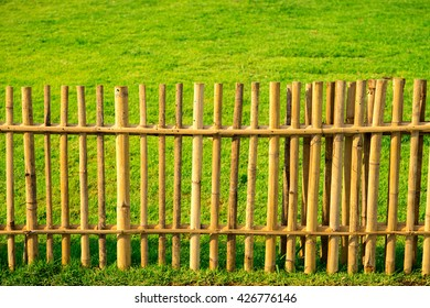 bamboo fence and grass background.