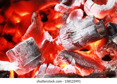 Bamboo Fire coals in stove for cooking
