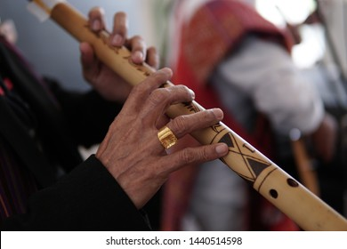 bamboo flute from the batak Medan Indonesia that is being played