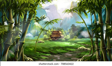 Bamboo Forest. The House, The Mountain. Video Game's Digital CG Artwork, Colorful Concept Illustration, Realistic Cartoon Style Background