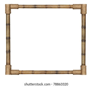 Bamboo frame tied up with rope isolated on white