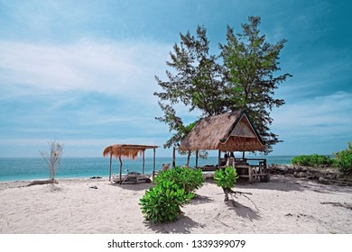 Bamboo House, bungalow, from natural wood tree on the tropical island Bali, Indonesia