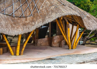 Bamboo house with a straw roof made by own hands. Gili Trawangan, Indonesia.