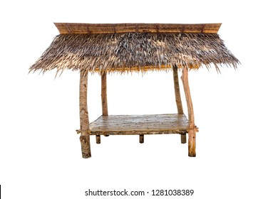 Bamboo hut isolated on white background,roofed with palm leaves .