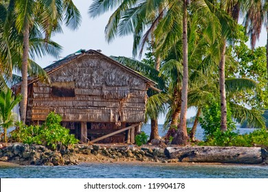 Bamboo hut on stilts on Gizo island in western province of Solomon Islands in South Pacific