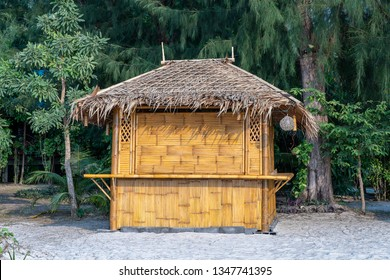 Bamboo hut on the tropical sand beach in island Koh Phangan, Thailand, close up