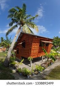 Bamboo hut with Palm Tree, Bantayan Island, Cebu - Philippines