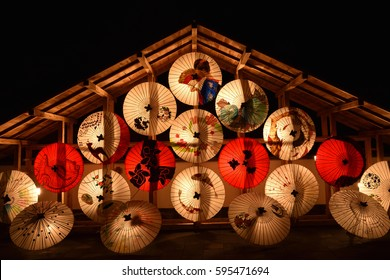 bamboo lantern and umbrella festival in japan