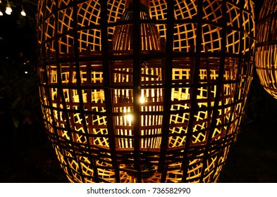 Bamboo lanterns from villagers.  Lamp with beautiful light.