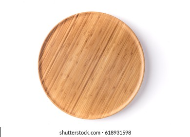 Bamboo lazy susan on a white background