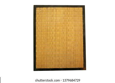 bamboo. bamboo mat. framed bamboo matt. isolated on white. room for text.