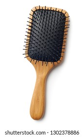 Bamboo Paddle Hair Brush On White Background