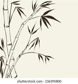 Bamboo Painting.  Illustration.