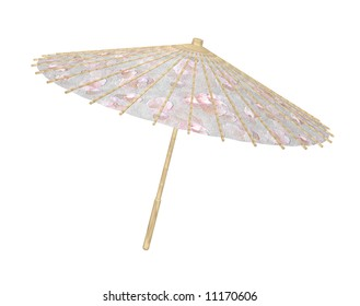 Bamboo paper umbrella or wagasa in light textured wood with cherry blossom pattern in paper.