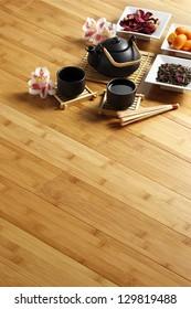 bamboo parquet floor with tea ceremony set