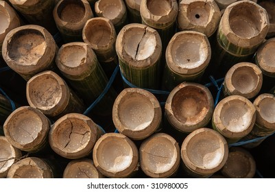 Bamboo pile prepare for furniture or construction materials like craft craft.