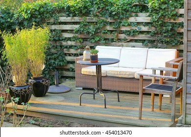Bamboo plants in pots at outdoor patio, sofa cushions furniture in backyard garden, natural design