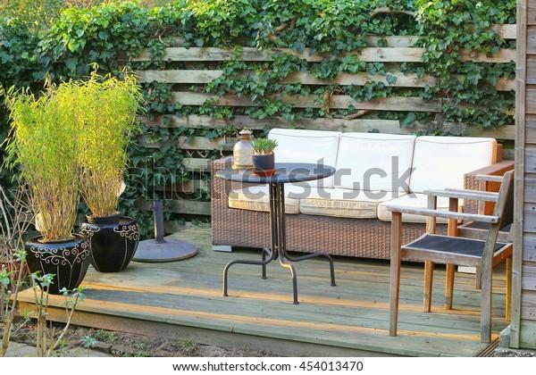 Bamboo Plants Pots Outdoor Patio Sofa Stock Photo Edit Now 454013470