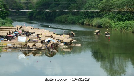 A bamboo raft on the Nan River in Hardpharkon village, nan province, Thailand