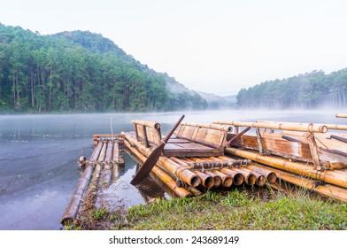 Bamboo raft on Pang Ung reservoir lake in Mae Hong Sorn, Thailand.