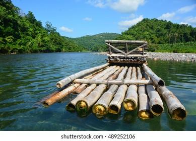 A bamboo raft on the RIo Grande River in Portland, Jamaica.