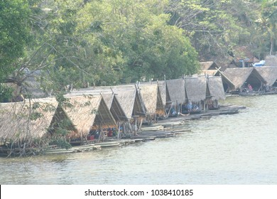 Bamboo rafts at Huay Tueng Tao reservoir in Chiangmai ,Thailand