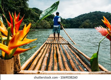 Bamboo ride in blue lagoon on Jamaica