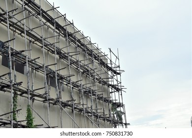 Bamboo scaffolding in construction site of new buildings,Chiang mai,Thailand.