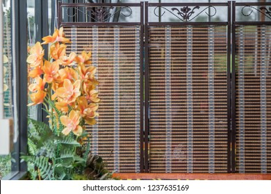 bamboo screen. bamboo is knitted and it's made crowded sheet, and it's also used as a tool of a blind or partition private.