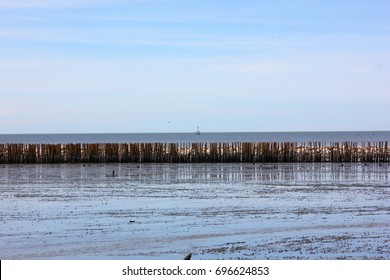 bamboo sea wall protect sea wave with  blue sky background