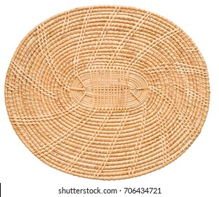 Bamboo serving tray mat isolated on white background.
