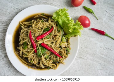 Bamboo shoot spicy salad,top view