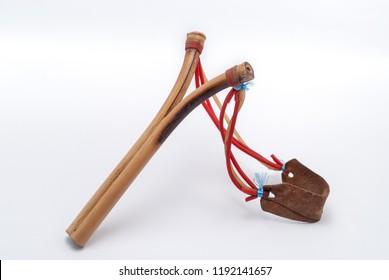 Bamboo slingshot isolated on white background