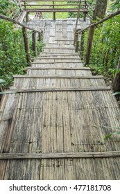 Bamboo staircase in countryside of Thailand