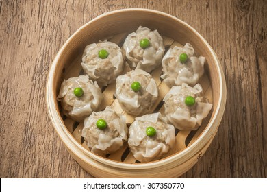 Bamboo steamer and fresh one siomai Chinese food