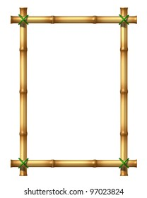Bamboo sticks blank frame as an exotic decorative hot tropical climate design element made with poles tied by green grass rope on an isolated white background.