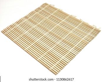 bamboo sushi rolling on white background