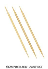 Bamboo toothpicks isolated on white background