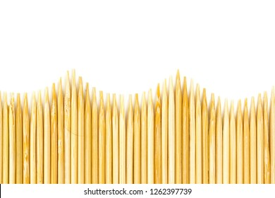 Bamboo toothpicks isolated on white background. wooden toothpick isolated on white background