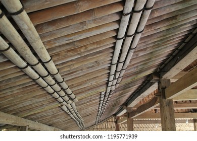 Bamboo traditional materials that use by the architect to built a plafond and roof in a tropical housing and shelter