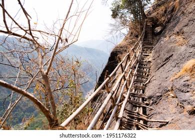 Bamboo trail trek in Meghalaya. Bamboo bridges built to traverse difficult terrain.