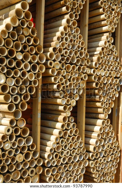 Bamboo Wall Cladding Design Stock Photo (Edit Now) 93787990