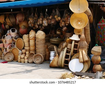 Bamboo wickerwork baskets on the thailand market place. Handmade from natural material. Bamboo handicraft products to maintain a traditional handicraft in a countryside.