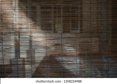 Bamboo wood blind window texture, Light and shadow, Abstract seamless background, Asian decorating home